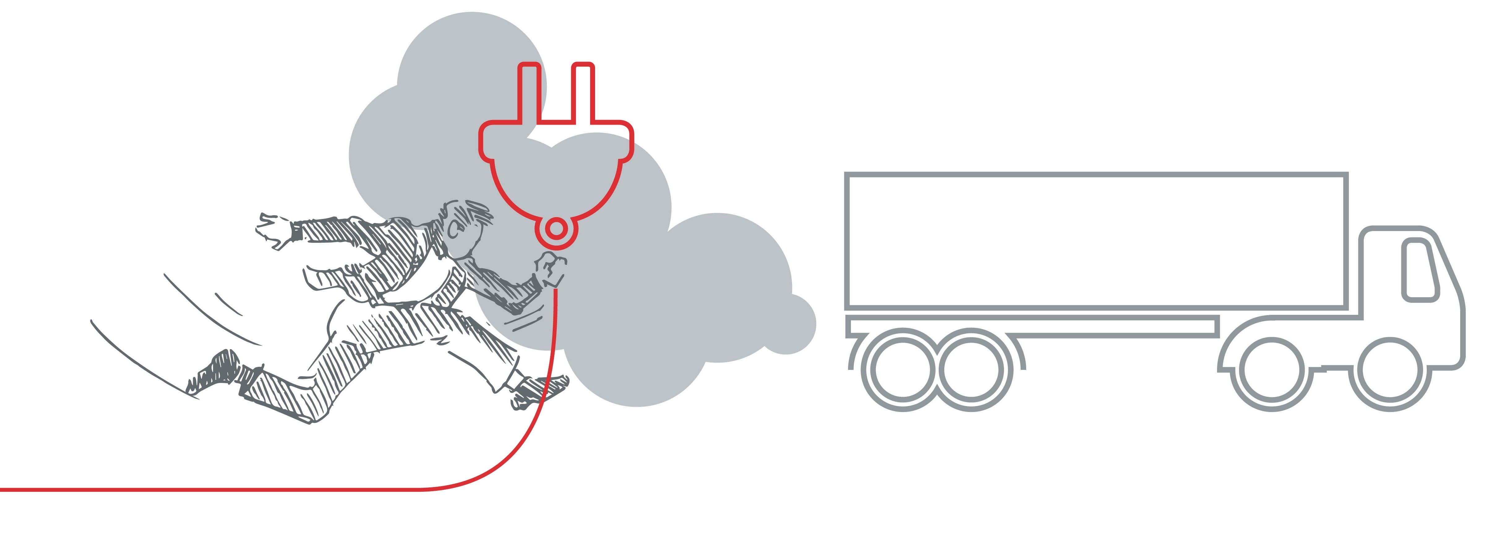 Sketch of a person holding an electric plug while approaching a truck