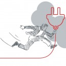 Sketch of a person holding an electric plug