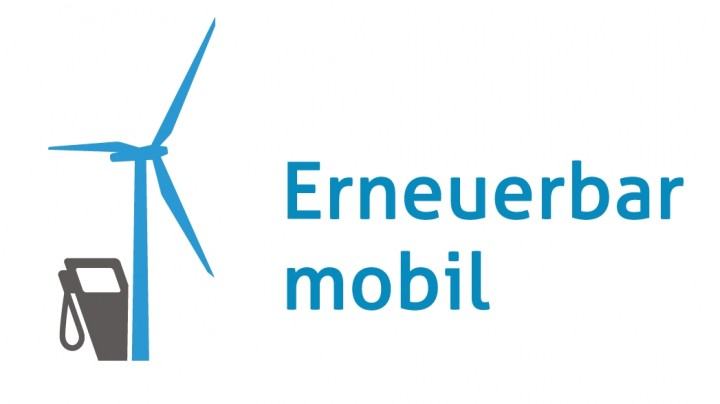 Logo of Erneuerbar mobil with a blue wind turbine and a dispensing station for electric vehicles